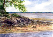 Maine Shore Painting Prints - Duck Trap River Outlet Print by Laura Tasheiko