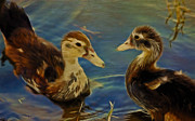 Ducklings Framed Prints - Duckling Playmates Framed Print by Deborah Benoit