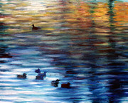 Geese Paintings - Ducks on the Pond by Hannah Curran