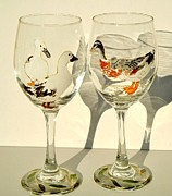 Male Glass Art Prints - Ducks on Wineglasses Print by Pauline Ross