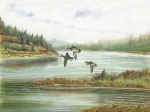 Waterscape Painting Metal Prints - Ducks Over Lake Metal Print by Samuel Showman