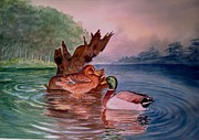 Ducks Paintings - Ducks by Shashikanta Parida