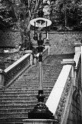 Gas Lamps Prints - Duddell Street Steps And Gas Lamps Hong Kong Hksar China Asia Print by Joe Fox