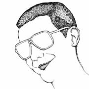 Cool Drawings Prints - Dude with Glasses Print by Karl Addison