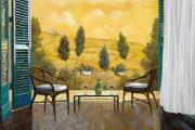 Terrace Prints - due bicchieri di Chianti Print by Guido Borelli