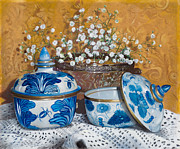 Porcelain Paintings - Due Vasetti Blu by Danka Weitzen