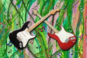 Stratocaster Mixed Media - Dueling Electronic Guitars In Green by Garland Johnson