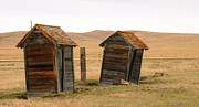 Abandoned Houses Photos - Dueling Outhouses by Grant Groberg