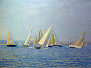Racing Pastels - Dueling Sailboats by Rae  Smith PSC
