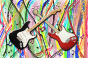 Stratocaster Art - Dueling Stratocasters by Garland Johnson