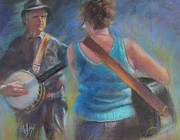 Guitar Player Pastels Posters - Duet Poster by Bill Puglisi