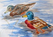 Ducks Paintings - Duet by Ellen Levinson