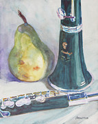 Pear Art Posters - Duet for a Pear Poster by Jenny Armitage