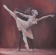 Ballet Dancers Painting Framed Prints - Duet Framed Print by Geoff Poole