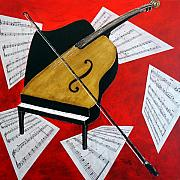 Musical Mixed Media Prints - Duet Print by Richard Roselli