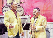 Featured Portraits Framed Prints - Duke Ellington and Johnny Hodges Framed Print by David Lloyd Glover