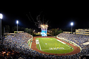 Blue Fireworks Prints - Duke Fireworks at a Packed Wallace Wade Stadium Print by Lance King
