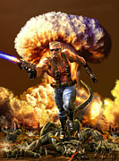 Comic Alien Framed Prints - Duke Nukem Framed Print by Kurt Miller