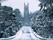 North Carolina Photo Posters - Duke Snowy Chapel Drive Poster by Duke University