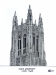 Historic Buildings Drawings Framed Prints - Duke University Chapel Tower Framed Print by Frederic Kohli