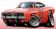 The General Lee Digital Art - Dukes of Hazzard General Lee by Maddmax