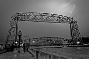 White Lightning Framed Prints - Duluth Lift Bridge Under Lightning Framed Print by Shutter Happens Photography