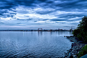 Duluth Art - Duluth Minnesota Harbor at Night by Linda Tiepelman