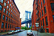 Cities Digital Art Metal Prints - DUMBO Neighborhood in Brooklyn Metal Print by Randy Aveille
