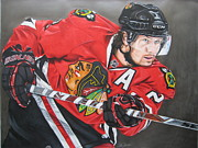 Helmet Mixed Media Framed Prints - Duncan Keith Framed Print by Brian Schuster