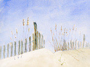 Framed Pastels Originals - Dune Fence by Flo Hayes