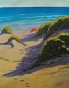 Sand Dunes Painting Framed Prints - Dune Shadows Nth Entrance Beach  nsw Australia Framed Print by Graham Gercken