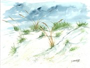 Sand Dunes Drawings Prints - Dunes 3 seascape beach painting print Print by Derek Mccrea