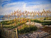 Sea Oats Prints - Dunes at Dawn Print by Shirley Braithwaite Hunt