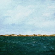 Big Sky Paintings - Dunes of Lake Michigan with Big Sky by Michelle Calkins