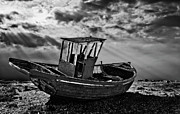 Wooden Boat Photo Framed Prints - Dungeness In Mono Framed Print by Meirion Matthias