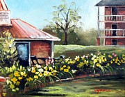 Plantation Paintings - Dunleith in Yellow by Cynara Shelton