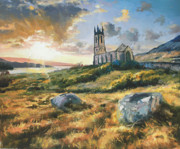 Sun Rays Painting Posters - Dunlewy Church Poster by Conor McGuire