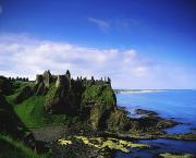 Hill Top Village Prints - Dunluce Castle, Co Antrim, Irish, 13th Print by The Irish Image Collection