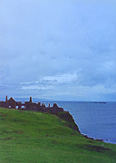 Castle On Mountain Prints - Dunluce Castle Print by First Star Art