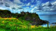 Kim Mixed Media Framed Prints - Dunluce Castle Framed Print by Kim Shatwell-Irishphotographer
