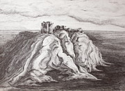 North Sea Paintings - Dunnottar Castle by Sheep McTavish