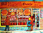 Montreal Storefronts Painting Framed Prints - Dunns Treats And Sweets Framed Print by Carole Spandau