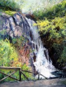 Waterfall Pastels Originals - Dunvegan Waterfall by Paula Wild