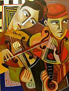 Violins Paintings - Duo Romantico by Niki Sands