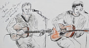 Karen Francis Drawings Prints - Duo Singing  Print by Karen Francis