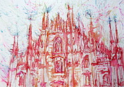 Dome Paintings - DUOMO city of MILAN in ITALY portrait by Fabrizio Cassetta