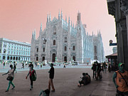 Duomo Cathedral Digital Art Prints - Duomo Milan Print by Louise Grant