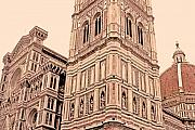 Impressionism Digital Art Prints - Duomo of Florence Print by Linda  Parker