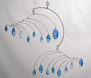 Mobile Sculpture Posters - Duplicity Style Kinetic Mobile Sculpture in Sky Blue Poster by Carolyn Weir