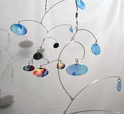 Blue Mobile Sculptures - Duplicity Style Kinetic Mobile Watercolor Sculpture by Carolyn Weir